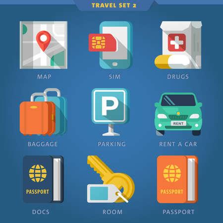passeport: Icon set de voyage 2.