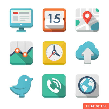 Universal Flat icon set. News, contacts, analitycs and communications.