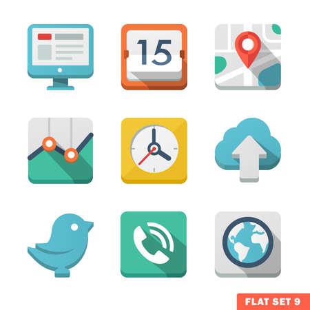 zeitplan: Universal-Wohnung icon set. Nachrichten, Kontakte, analitycs und Kommunikation. Illustration