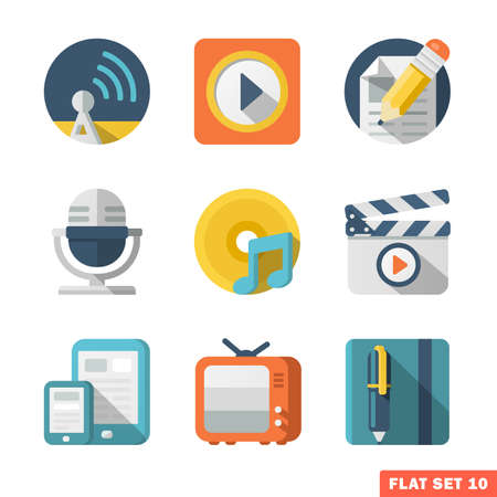 tv network: Media and Communication Flat icons. Illustration