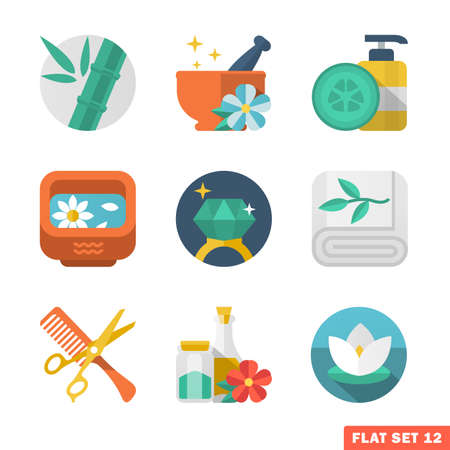 Beauty and Spa Flat icons.