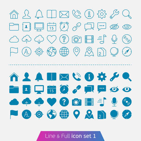 Universal Basic set 1  Trendy thin icons for web and mobile  Line and full versions