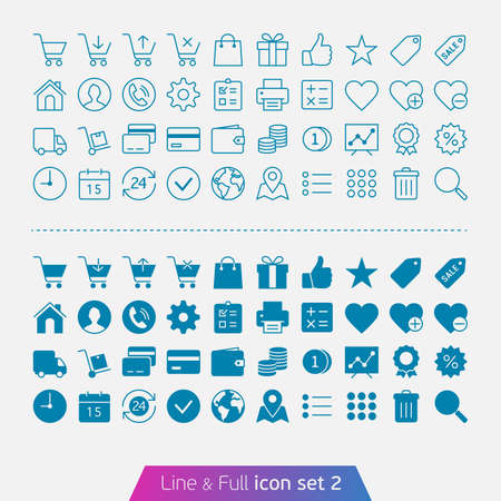 e cart: Shopping and money set 2  Trendy thin icons for web and mobile  Line and full versions