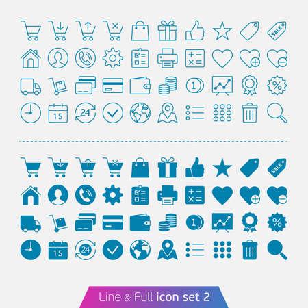 Winkelen en geld set 2 Trendy dunne iconen voor web-en mobiele Line en volledige versies Stock Illustratie