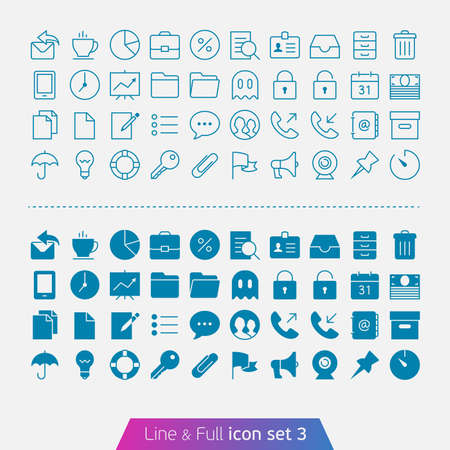Business and Office set 3  Trendy thin icons for web and mobile  Line and full versions  Vector