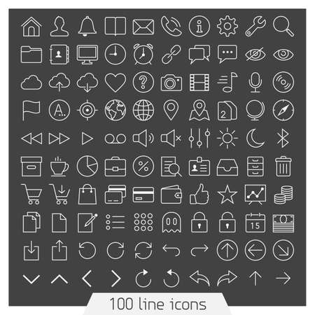 100 line icon set  Trendy thin and simple icons for Web and Mobile  Dark version  Vettoriali