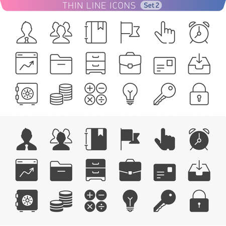 Trendy thin line icons for web and mobile. Normal and enable state. Illustration