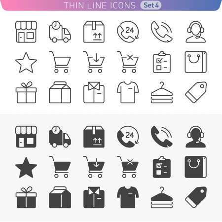 Trendy thin line icons for web and mobile. Normal and enable state. Иллюстрация