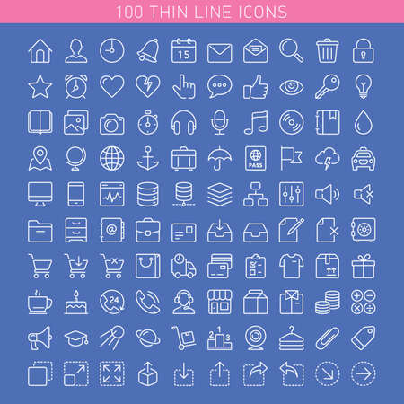 Icon set for Web and Mobile. Light version Иллюстрация