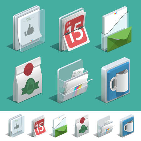 souvenirs: Basic isometric icon set for Print shop. Illustration