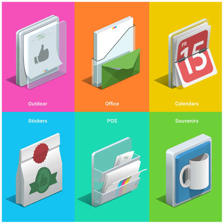 publisher: Printing isometric icons on a colorful background.