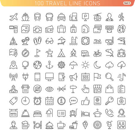 Travel Line Icons for Web and Mobile. Light version. Иллюстрация