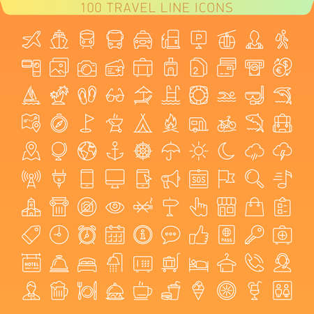 Travel Line Icons for Web and Mobile. Dark version.