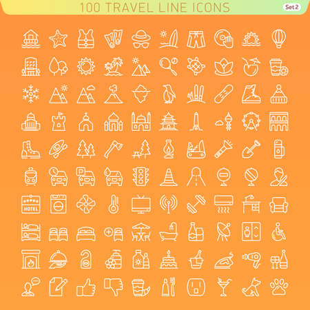 Travel Line Icons for Web and Mobile. Beach, Mountains and Hotel. Dark version