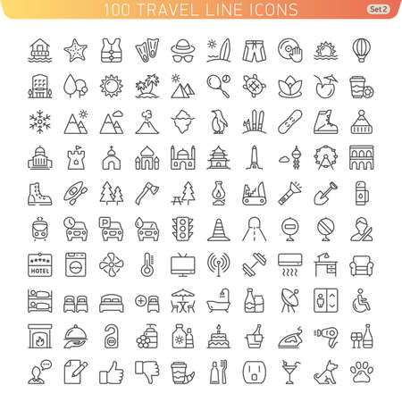 Travel Line Icons for Web and Mobile. Beach, Mountains and Hotel. Light version