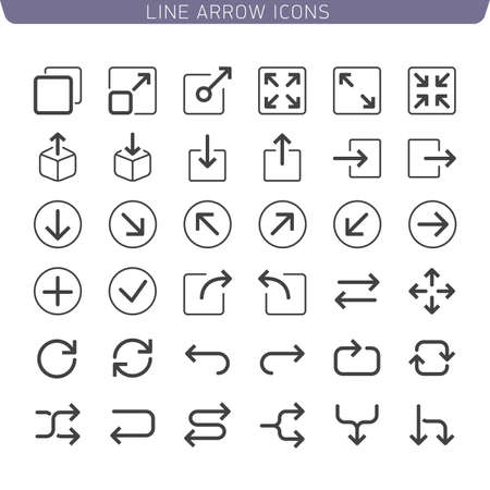 Line Arrow icon set. Illustration