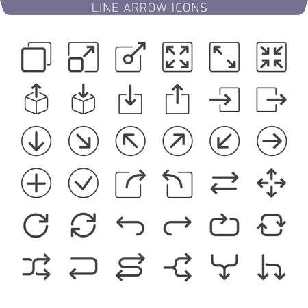 Line Arrow icon set. Illustration