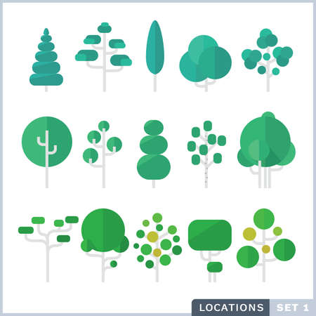Tree Flat icon set. Vettoriali