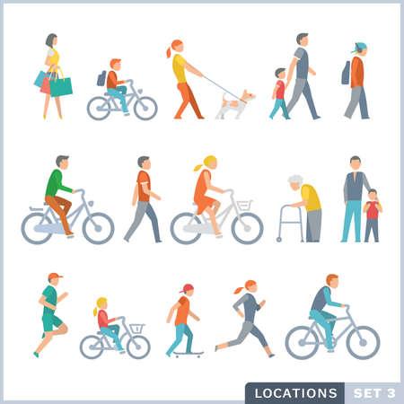 actividad fisica: La gente en la calle. Vecinos. Iconos planos.