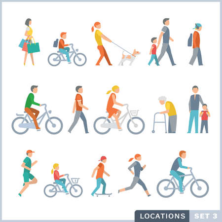 bycicle: People on the street. Neighbors. Flat icons. Illustration