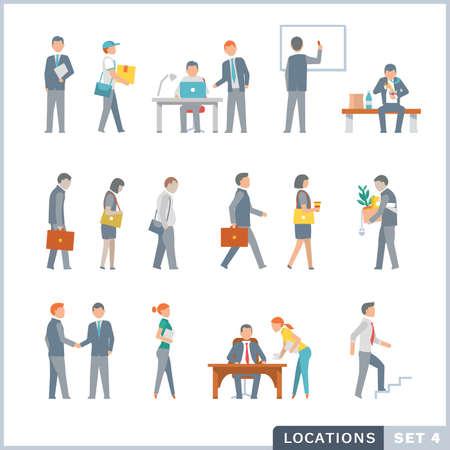 caminando: La gente en el trabajo. Office. Iconos planos.