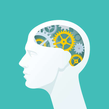 contemplate: Human head with gears. Head thinking. Flat illustration.