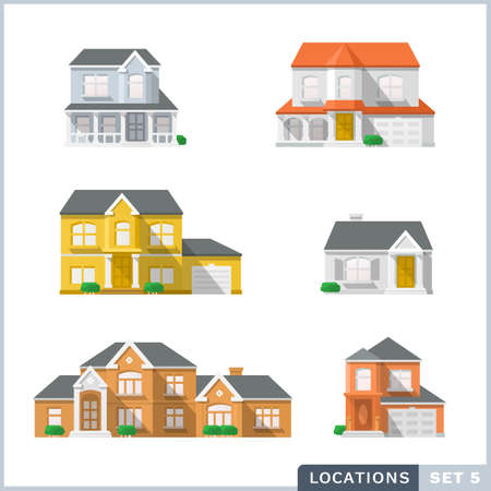 Haus-Symbol-Set 1, privaten Wohnarchitektur. Vektorgrafik