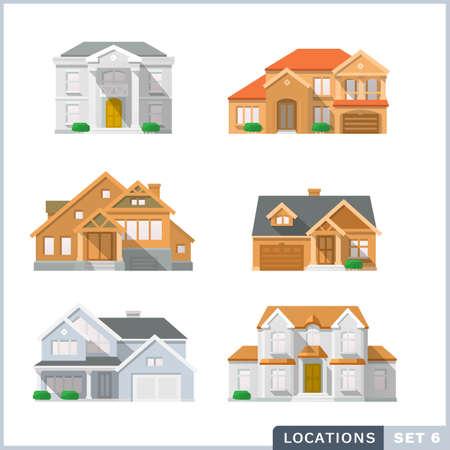 House icon set 2. Colourful flat illustrations.