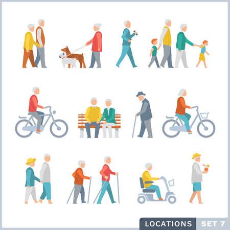 perro corriendo: Las personas de edad avanzada en la calle. Vecinos. Iconos planos.