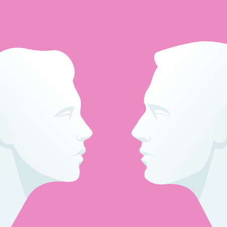 caras: Cara a cara. Jefes de hombre y mujer que miran a los ojos Vectores