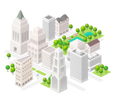 Big city. Set of the isometric vector elements. Skyscrapers, park with ponds, ity buildings and shops.