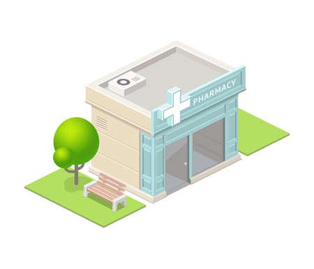 Isometric pharmacy building and tree.