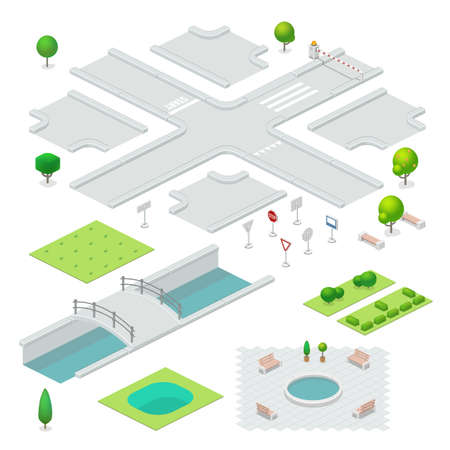 Isometric city elements.