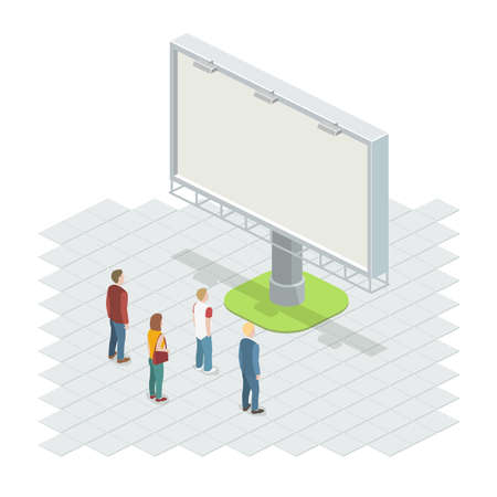People on the street looking at the billboard. Isometric vector illustration. Vettoriali