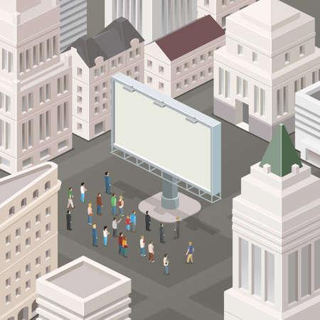 Mensen op het plein kijken naar de billboard. Isometrische vector illustratie.