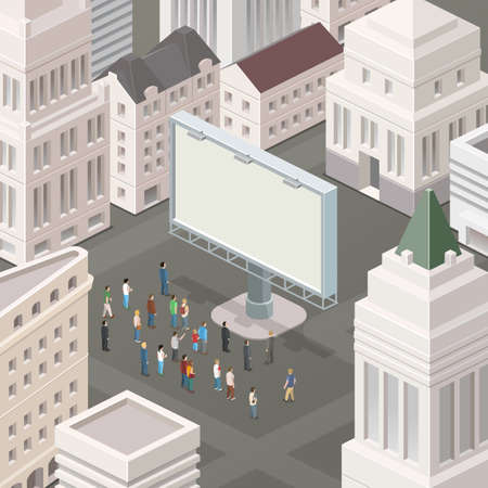 billboards: People in the square looking at the billboard. Isometric vector illustration.