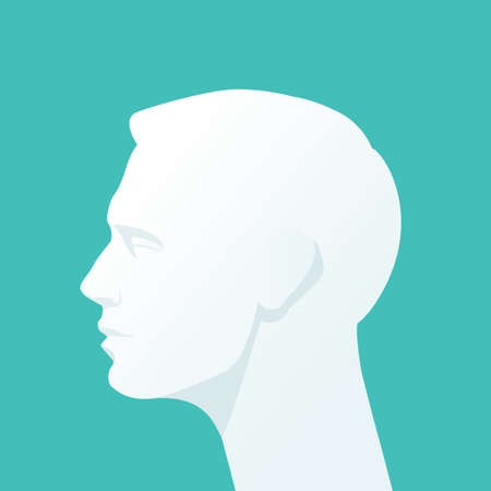 head gear: Human head. Vector Flat illustration.