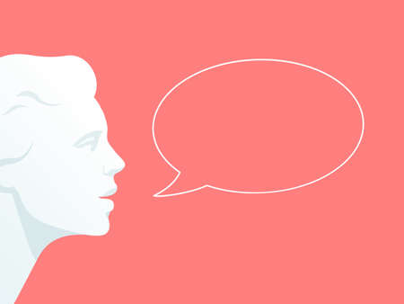 Human head with speech bubble. Flat illustration.on pink background with speech bubble