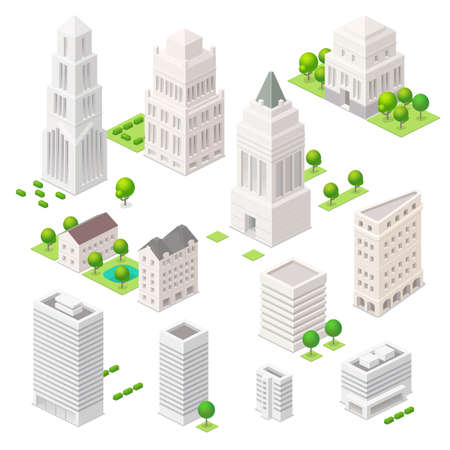 city building: Set of the isometric vector elements. Skyscrapers, trees and other ity buildings.