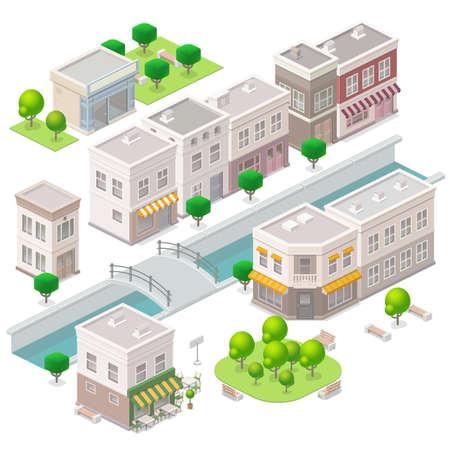arboles de caricatura: Pueblo Viejo. Edificios de la ciudad, el río con el puente, cafetería, hotel y tienda. Conjunto de los elementos vectoriales isométricos.