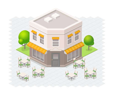 outdoor seating: Isometric restaurant building with outdoor seating.