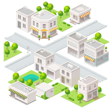 small town: City isometric buildings. Set of the vector elements.