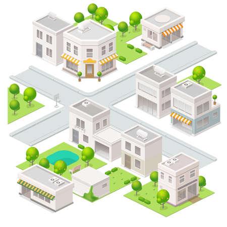 Ciudad de edificios isométricos. Conjunto de los elementos del vector.
