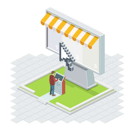 The man using it technologies. The Big Isometric vector screen with a cursor and a terminal.