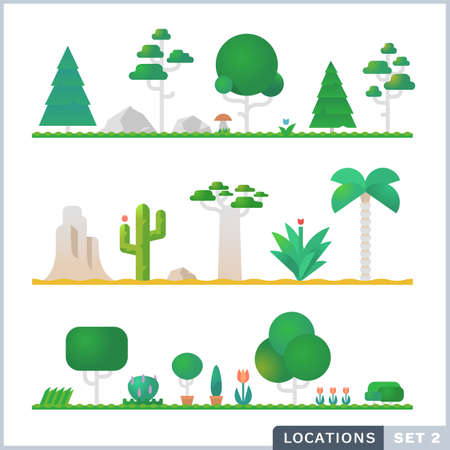 Set of trees, rocks, bushes and grass. Vector flat illustrations.