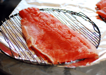 Beautiful pink juicy fillet of rainbow trout