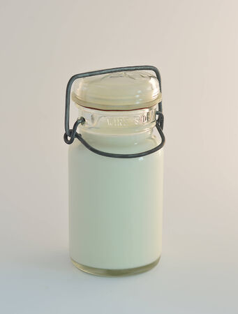 American vintage milk bottle on a white background.