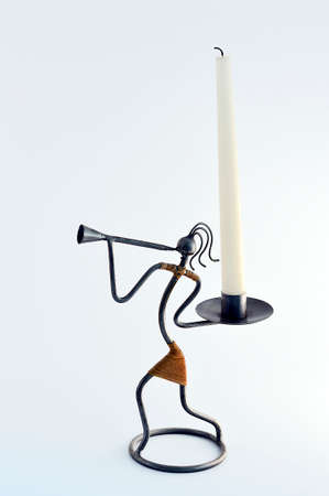 candle holder: Metal candle holder on a white background.