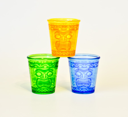 bendable: Tiki glasses colorful blank on a white background.