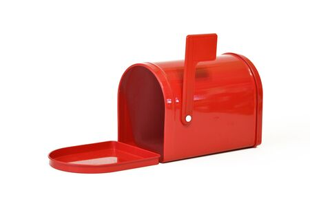 red metal: Red metal mailbox on a white background Stock Photo